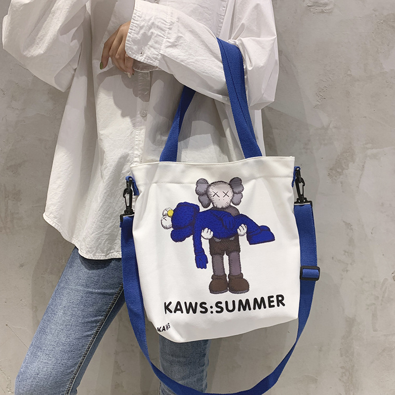 Uniqlo KAWS Sesame Street Joint Bag Uniqlo Joint Popular Brand Tote Bag Shoulder Hand Canvas Bag WOMEN'S Bag