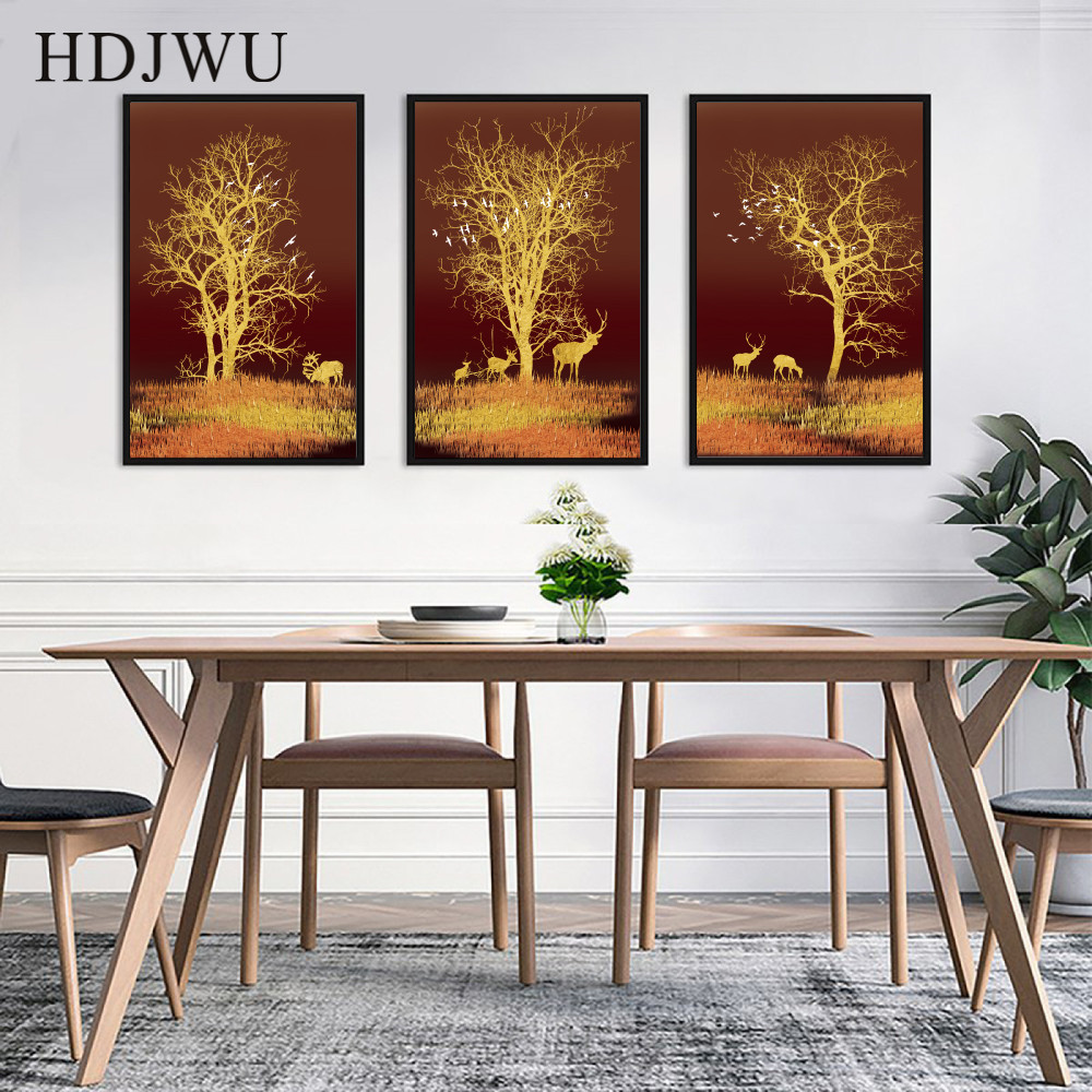Home Wall Canvas Painting Picture Art Golden Tree Forest Printing Posters for Living Room Decor AJ00290 in Painting Calligraphy from Home Garden