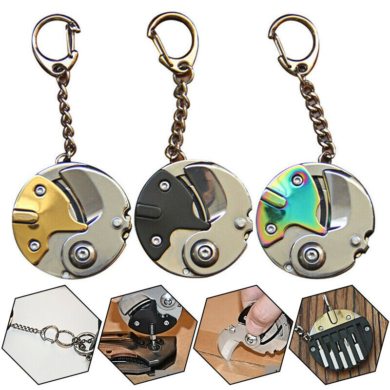 Foldable Multifunctional Coin Knife Keychain Mini EDC Keyring Pocket Multi Outdoor Tool Gear Survival Box Package Pendant