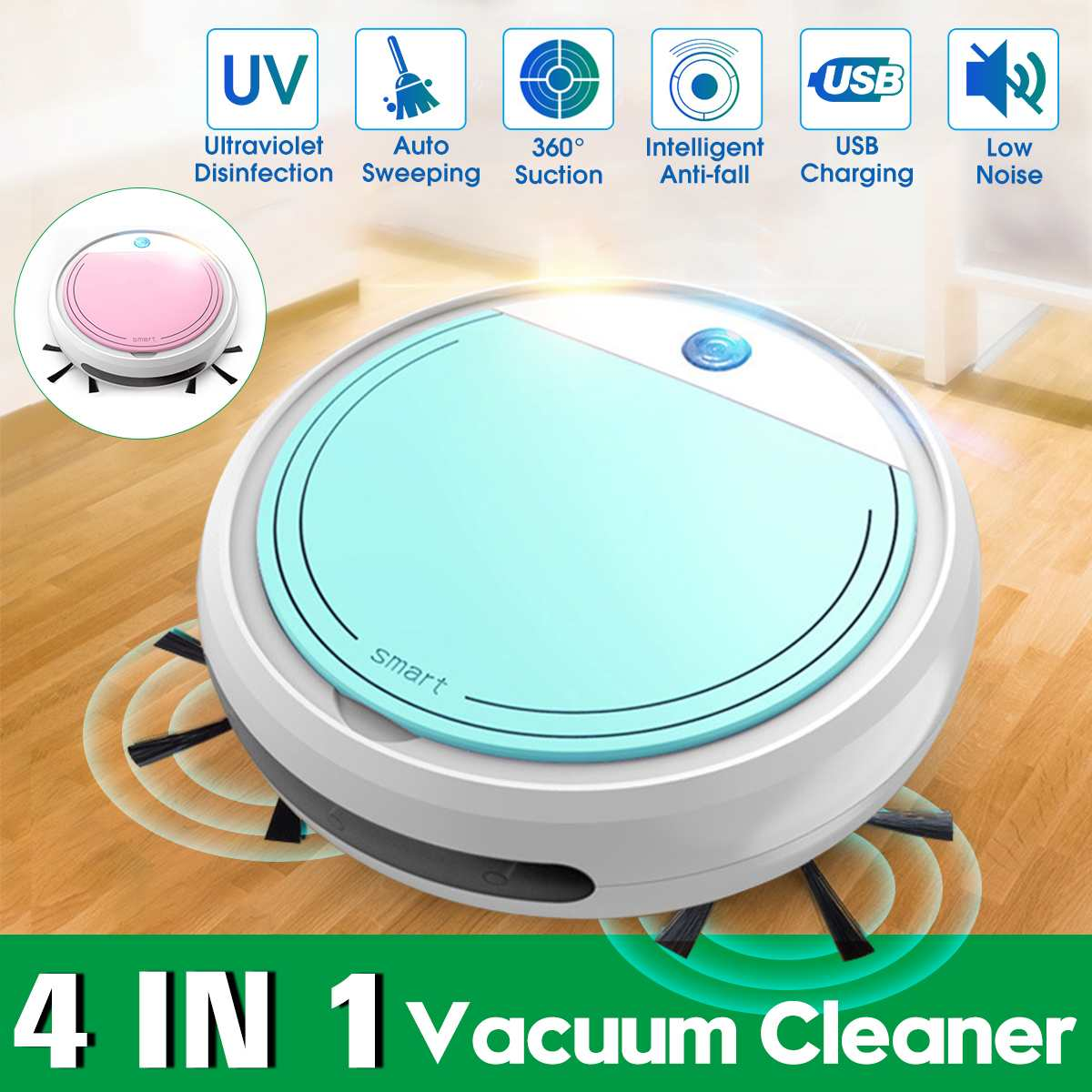 Multifunctional Robot Vacuum Cleaner 4 IN 1 Auto Rechargeable UV Sterilizer Sterilization Smart Sweeping Robot Cleaning Tools