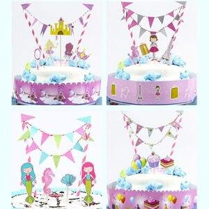 Image 3 - Новинка 2018, мультяшный динозавр, пиратский торт, Topper, флаг, набор баннеров, дети, мальчик, девочка, день рождения, детские товары для украшения торта