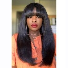 Светильник яки прямые человеческие волосы парики с челкой натуральные малазийские головы машина верхней части парики 250% плотность натурал...
