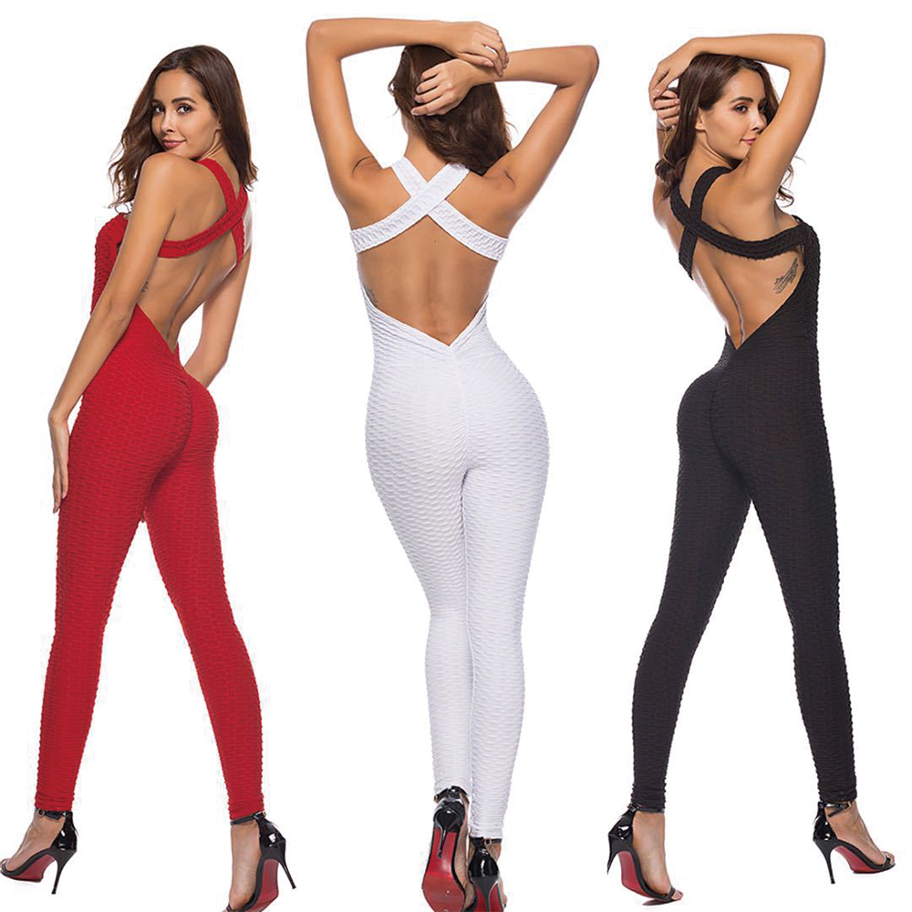 Jumpsuit Sports Women Sexy Halterneck Bodysuit For Workout Fitness Clothing Leggings Female One Piece Jumpsuit Sportswear