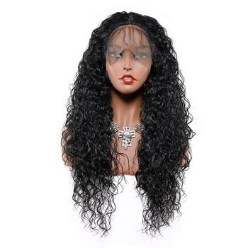 13x6 Curly Hair Lace Front Wigs Synthetic Long Wigs Heat Resistant Fiber Hair for Black Women 26 Inch Curly Black Color Hair 2