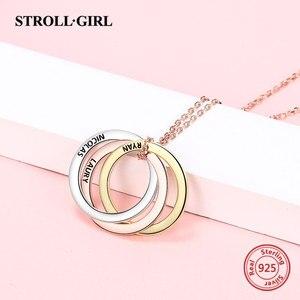 Image 4 - Strollgirl collar de plata de ley 925 con colgante personalizado, palabras personalizadas y fecha, collar de 3 círculos con cierre, joyería para mujer.