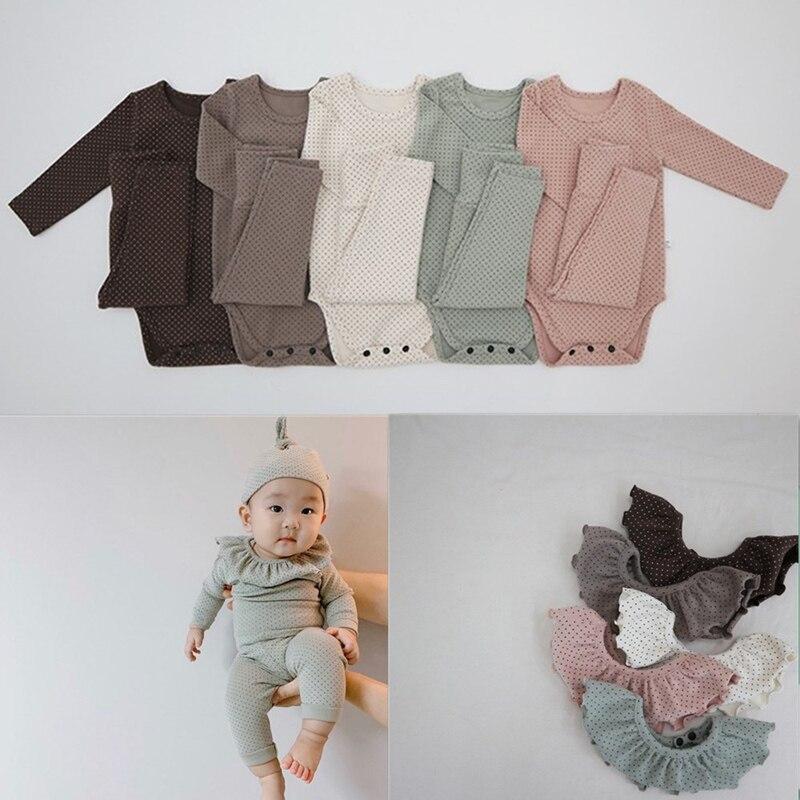 MILANCEL Baby Clothing Set Cute Dot Infant Boys Indoor Bodysuits 4 Pieces Set Toddler Girls Clothes Set
