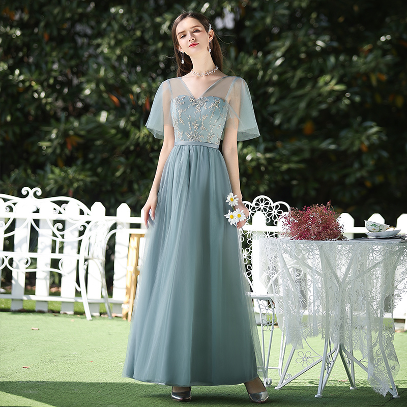 Long Tulle Bridesmaid Dress Plus Size Elegant Dress Women For Wedding Party V-neck Dress Prom Azul Royal Vestido Vintage Empire