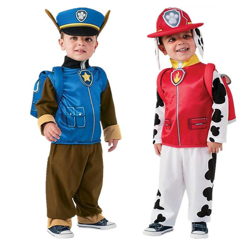 24Hours Ship Kids Carnival Costume Children Patrol Dogs Marshall Chase Cosplay Costume Boys Girls Birthday Christmas Party