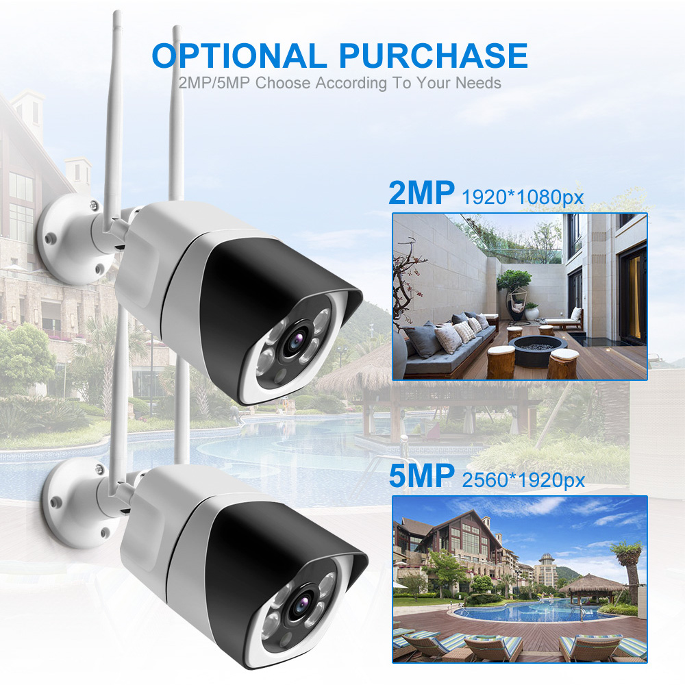 Hd17b159f579d42b5b3d7ca00abc30a3fw HD 5MP Wifi IP Camera ONVIF 1080P Wireless Wired CCTV Bullet Camera Outdoor Two Way Audio TF Card Slot Max 64G IR 20m P2P iCsee