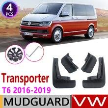 Mudflap para volkswagen vw transformador t6 caravelle, multivan 2016 ~ 2019, para fender, abotoaduras, acessórios para guardas de lama 2017