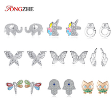 TONGZHE 925 Sterling Silver Earrings for Women Elephant Fish Butterfly Owl Pave CZ Luck Turkey Hamsa Hand Stud Jewelry