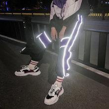 Men's Cargo Harem Pants Hip Hop Casual Male Track Pants Joggers Trousers Fashion Harajuku Reflective Men Pants Streetwear