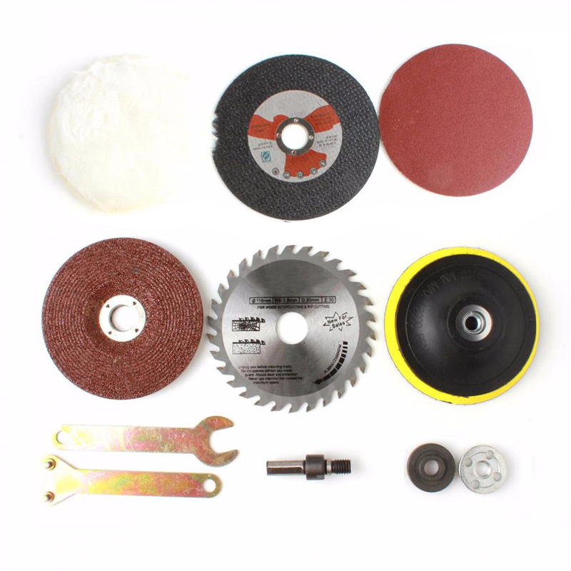 8Pcs/set Electric Drill Conversion Kit Angle Grinder Cutting Parts Accessories Woodworking Metal Polishing Finishing