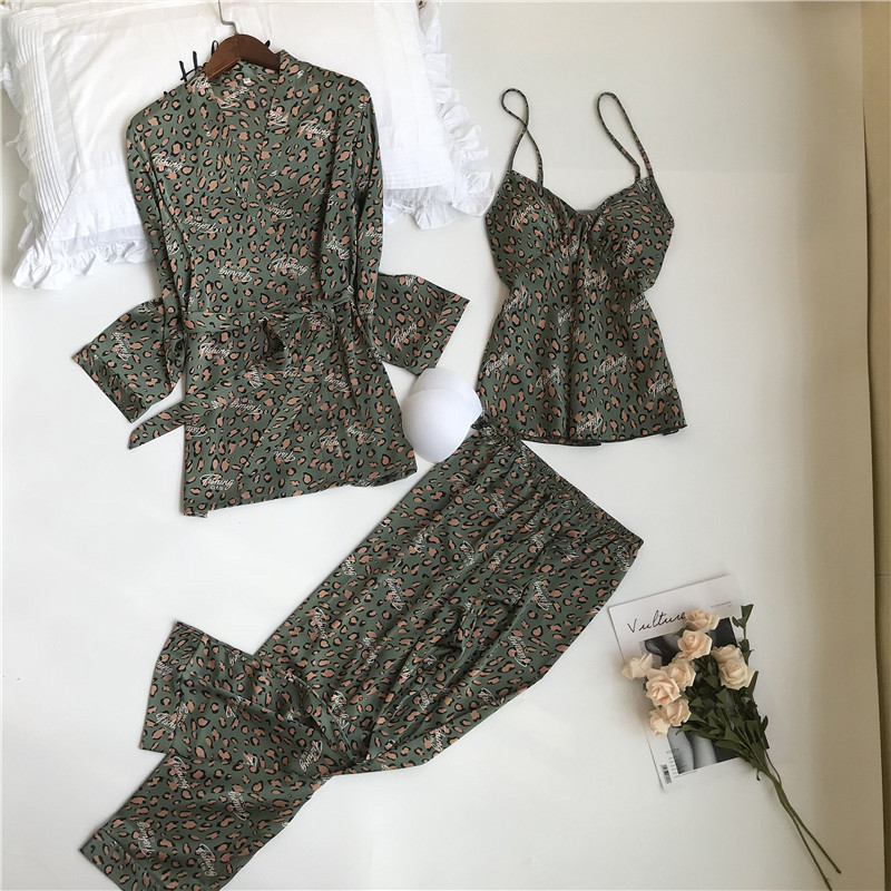 2020 Women Satin Pajamas Sets With Shorts Sexy Leopard Print Spring Pyjama Nightsuits Pajamas For Women With Chest Pad