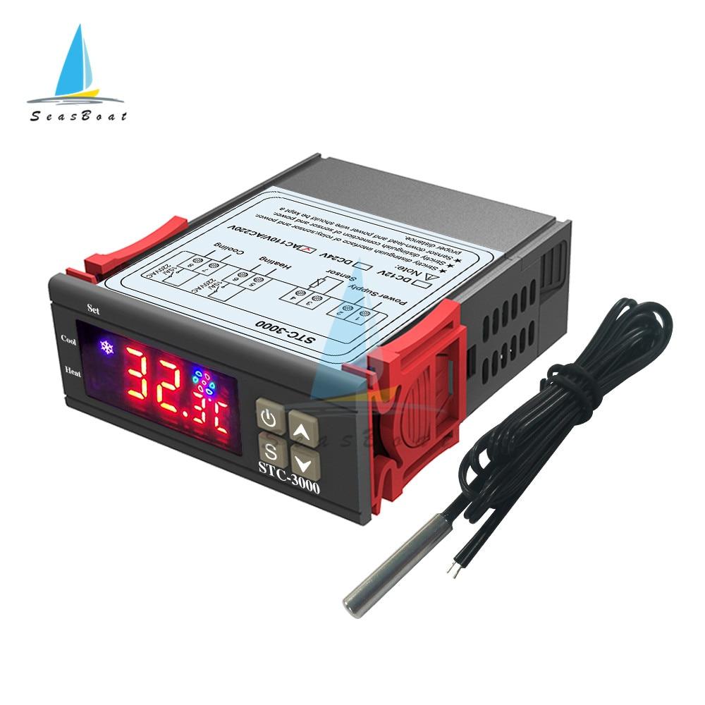 Цифровой регулятор температуры STC-3000 STC3000, термометр, датчик термостата, переключатель нагрева и охлаждения инкубатора 12 В, 24 В, 220 В
