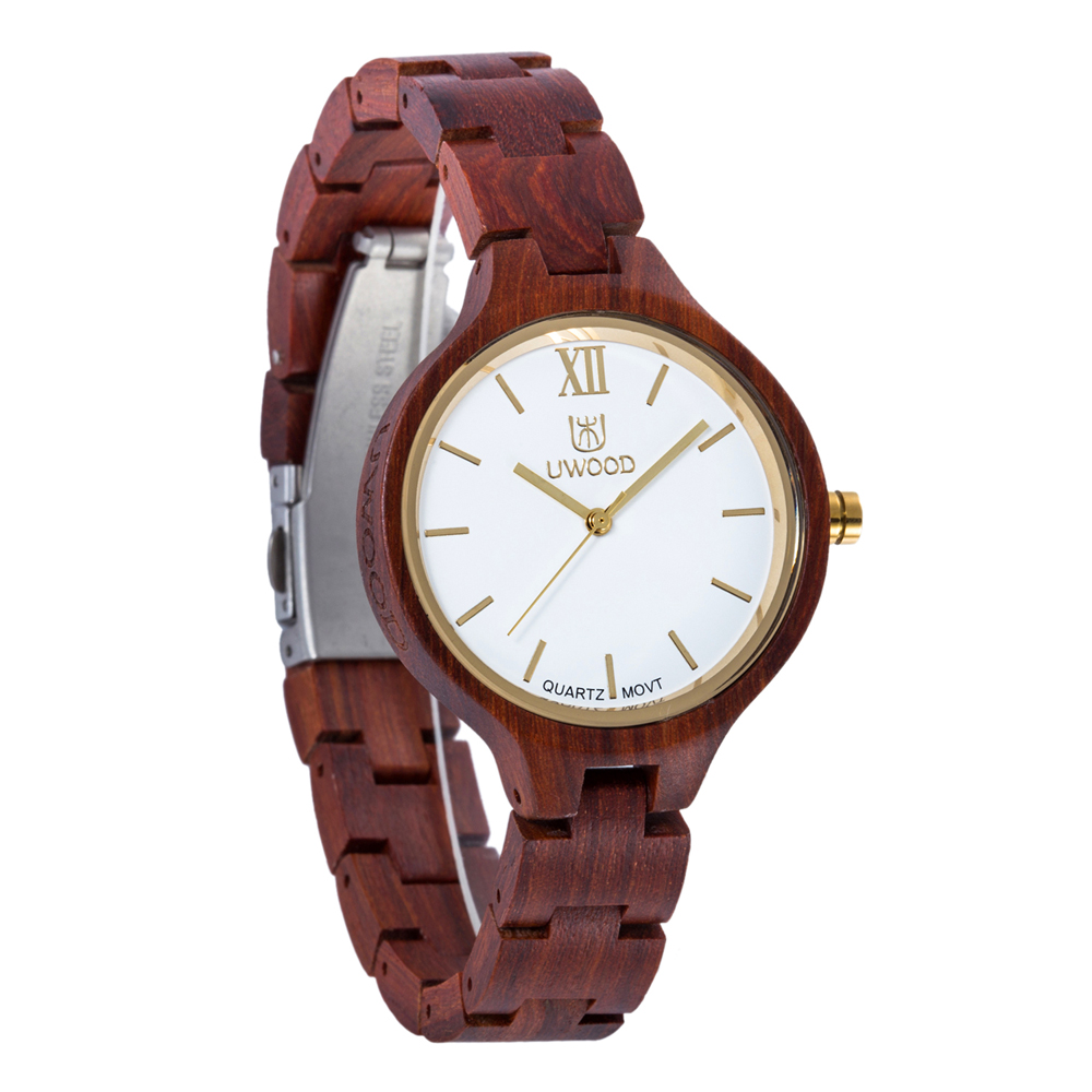 Women Dress Watch Lady Women Wooden Quartz Watch Display Bangle Natural Wood Watches Relogio In Gift Box