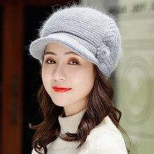 Hot Winter Women Rrabbit fur ball cap winter hat girl knitted hats skullies beanies brand new thick female