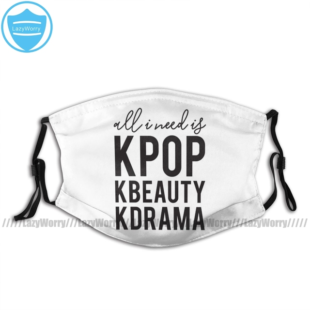 Kpop Mouth Face Mask All Day Kpop KBeauty Kdrama Reusable Facial Mask Adult with 2 Filters Cool Fashion Mask