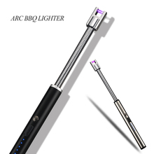 Smoking-Tools Candle Unusual Lighters Electric Windproof 360-Rotation Gas-Stove USB Arc