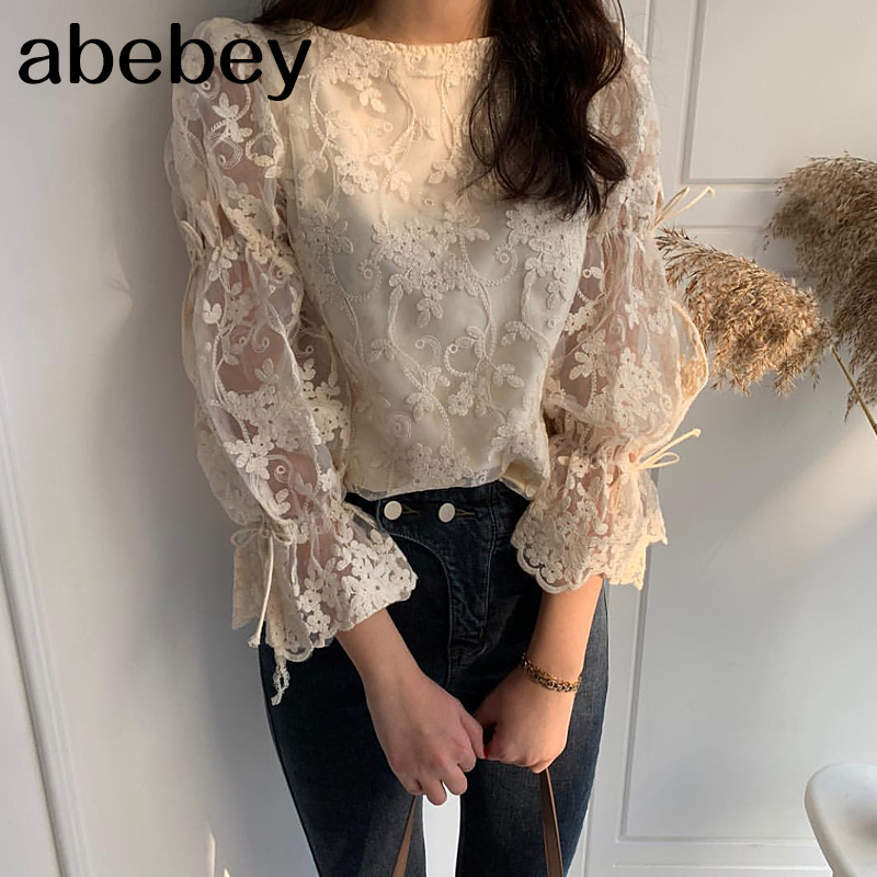 Spring Autumn New Girl Chiffon shirt Fashion embroidered lace Tops Elegant Flare sleeve Casual Women blouse Blusa