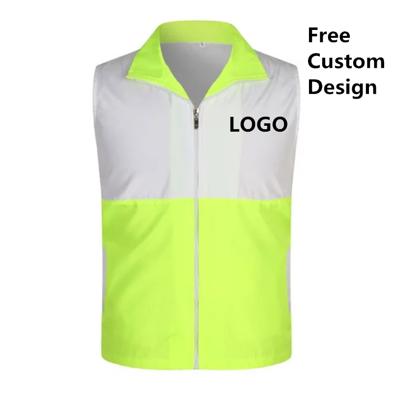 Factory Price! 1PCS Free Custom LOGO Color Matching Safety Vest High visibility Construction work uniforms logo printing image