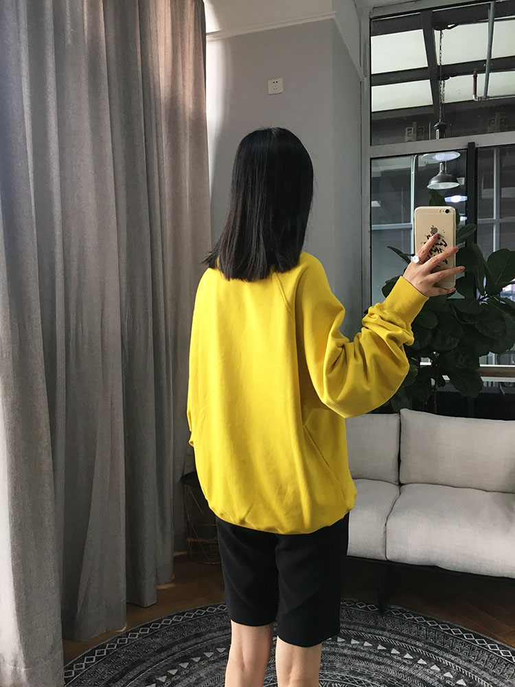 Autumn Winter Yellow Women Sweatshirt New Letters Hot Drilling Long Sleeve Fashion Cotton Pullover Top Clothes