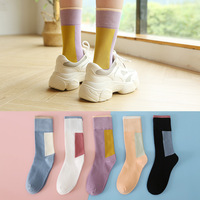 Women's Cotton Socks New Style for Autumn Winter Fashion Creative Color All match Socks Fashion Sports Mid calf Length Socks