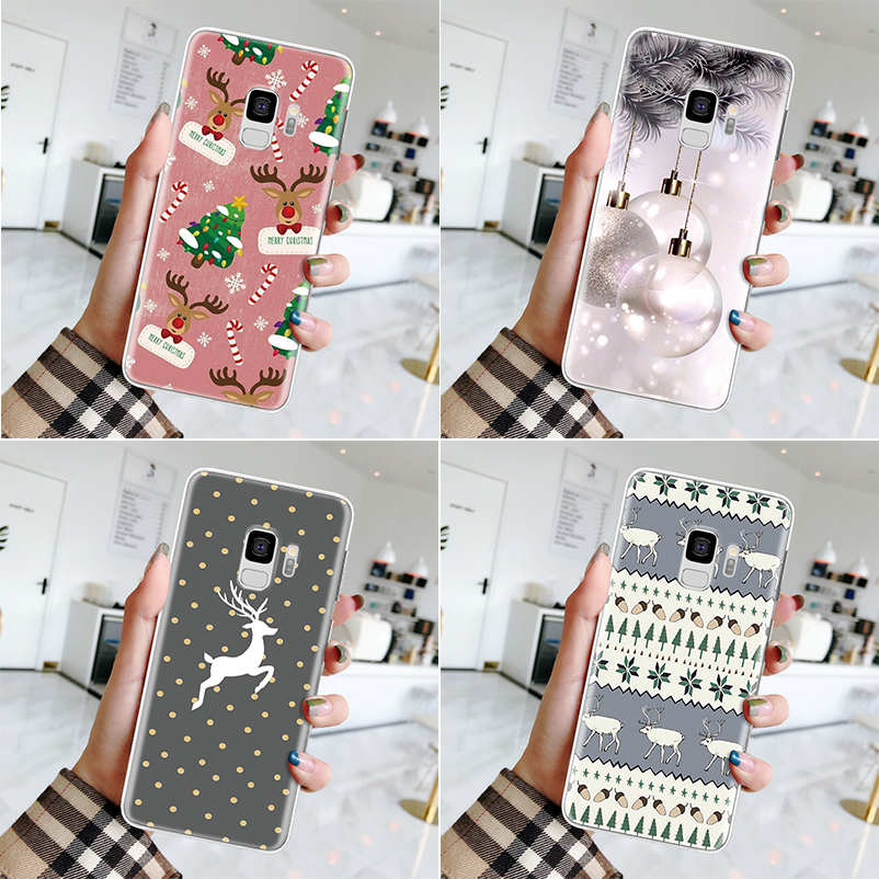 Christmas New Year Case For Samsung Galaxy A10 A20 A20E A30 A40 A50 A60 A70 A80 A90 S10 S8 S9 Plus Note 10 <font><b>8</b></font> <font><b>9</b></font> <font><b>5</b></font> Clear TPU Cover image