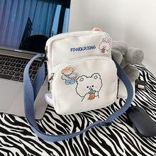 Koreański styl moda mała torba płótno torba na ramię dla kobiet 2020 Cartoon królik wydruku Crossbody torba Mini torby dziewczyny Bolsa Mujer