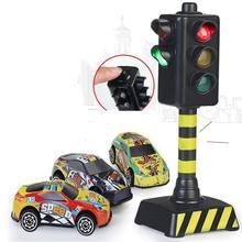 Mini tráfego sinais de estrada bloco de luz com som led crianças educacional