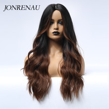 JONRENAU Long Natural Wave Hair Synthetic Ombre Black to Brown Wigs for White/Black Women Party or Daily Wear