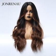 Jonrenau longo natural onda cabelo sintético ombre preto a brown perucas para branco/preto feminino festa ou uso diário