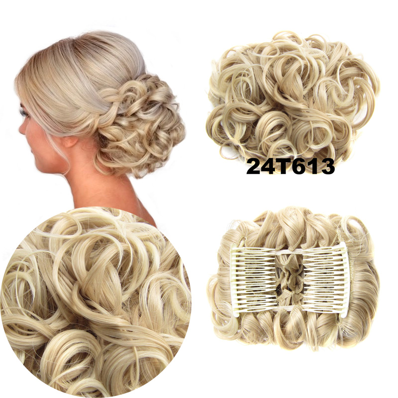 Jeedou Synthetic Updos Curly Hair Chignon Clip On Hair Bun Pad Gray Bromn Mix Color Retro Style Women's Wedding Hairpieces