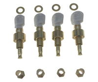 KAISH Set of 4 Gold/Chrome Buttons Banjo Geared Tuners Tuning Pegs Machine Heads