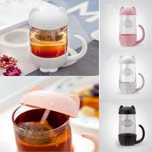 Милый Кот, стеклянная бутылка для воды, фильтр для заварки сока, чая, кружка, автомобиль, портативный офис