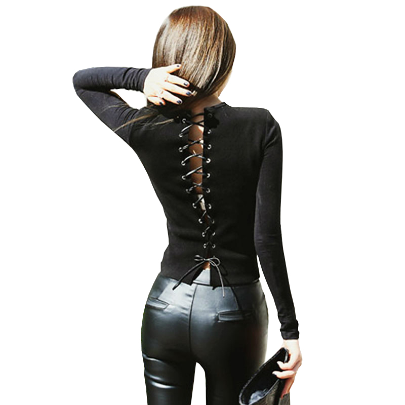 Blouse Women Long Sleeve Hot Sexy Back Bandage Tight Black Shirts Slim Hollow Out Backless Bodycon Casual Lace Up Blouses Female