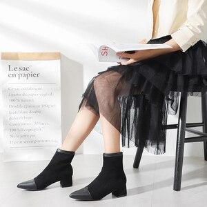 Image 2 - Botines Mujer 2019 חורף מגפי נשים אופנה סתיו פרווה עקבים מחודדת פלוק להחליק על נעלי פאנק גותי נשי נעל אישה