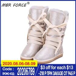 MBR FORCE/Водонепроницаемые зимние сапоги из натуральной кожи на шнуровке для женщин; Натуральная овечья шерсть; Зимняя женская обувь с подклад...