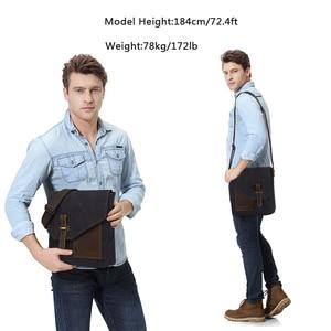 Image 5 - VASCHY Lightweight Irregular Mens Small Messenger Bag Vintage Cowhide Leather Water Resistant Canvas Crossbody Shoulder Bags
