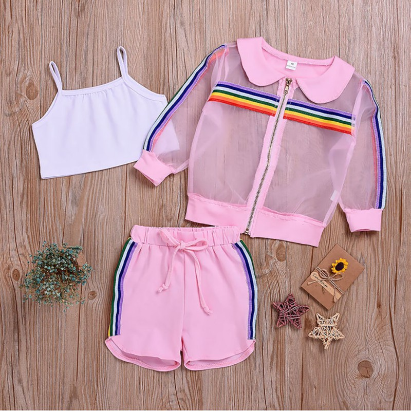 Baby Girls Cute Casual Long Sleeve 2019 New Summer Kids Zipper Striped Print Outerwear Tops+Shorts Suits Costume Set