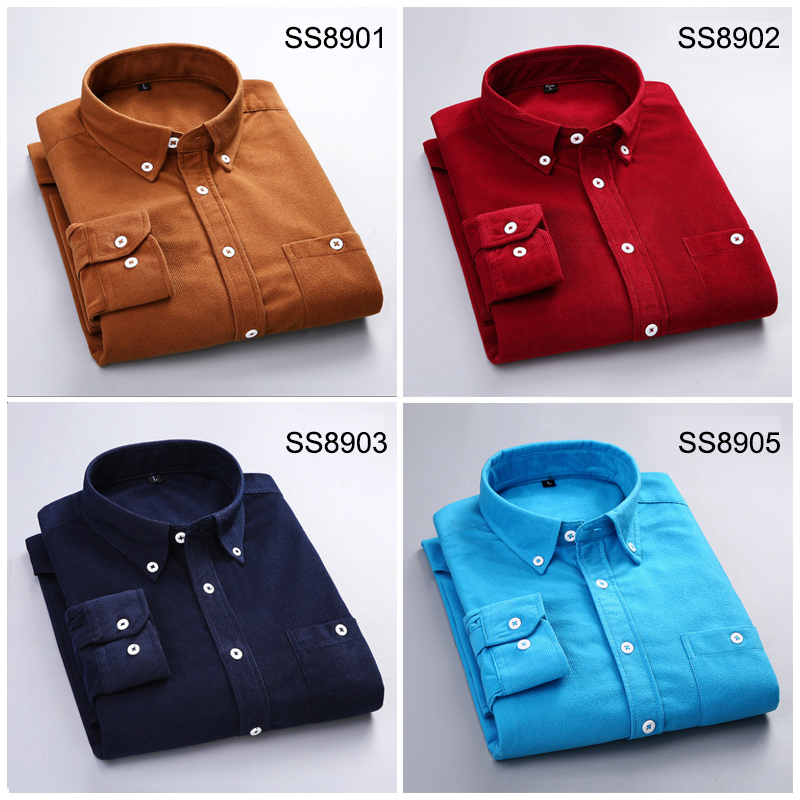 Corduroy Shirt For Men Quality Warm Autumn Winter Thick Regular Fit Daily Asian Size Fashion Simple Business Mens Casual Shirts