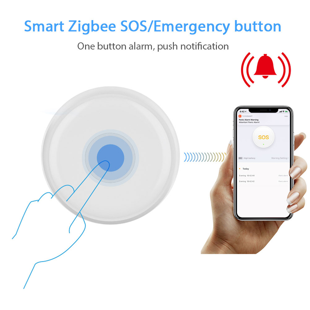 Zigbee Wireless Remote Call Button SOS/Emergency Button Pager for Fall Alarm Patient Alert System Work with Tuya Zigbee Hub