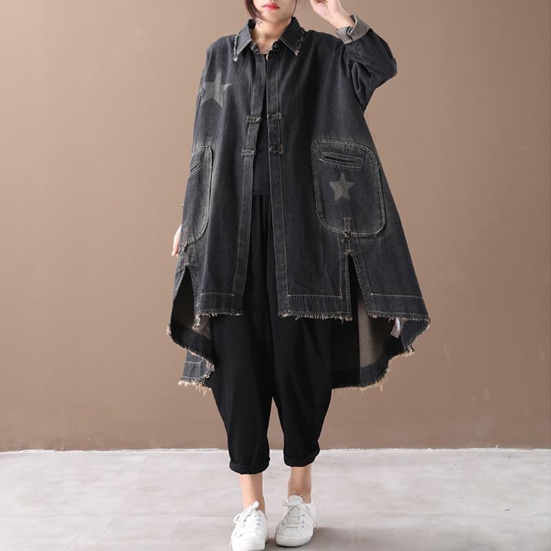 Image 2 - CHICEVER Vintage Korean Denim Women Dresses Lapel Collar Long  Sleeve Asymmetrical Loose Dress Female 2020 Autumn Fashion NewDresses