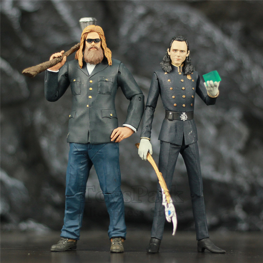Custom Marvel Odinson Loki & Fat Thor 16-18cm Action Figure Hammer StormBreake Scepter Wand Avenger 4 Endgame Legends Toys Doll