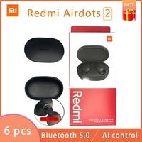 Nieuwe 6 Stks/partij Xiaomi Redmi Airdots 2 Tws Draadloze Bluetooth 5.0 Oortelefoon Stereo Ruisonderdrukking Mic Voice Controle Hoofdtelefoon