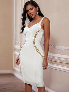 Ocstrade Bandage-Dress Chain Celebrity Evening-Club Bodycon Women White New-Arrival Embellished