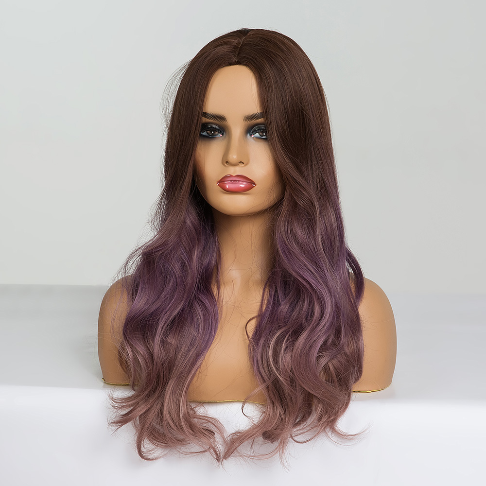 Image 4 - ALAN EATON Long Wavy Cosplay Wig Brown Purple Ombre Synthetic Hair Wigs Heat Resistant Fiber Middle Part Wigs for Black  WomanSynthetic None-Lace  Wigs   -