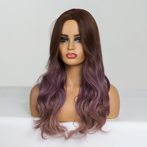 Image 4 - ALAN EATON Long Wavy Cosplay Wig Brown Purple Ombre Synthetic Hair Wigs Heat Resistant Fiber Middle Part Wigs for Black  Woman