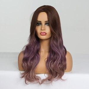 Image 4 - EATON perruque synthétique pour Cosplay longue ondulée marron, violette, ombré, perruques en Fiber résistante à la chaleur pour femmes noires