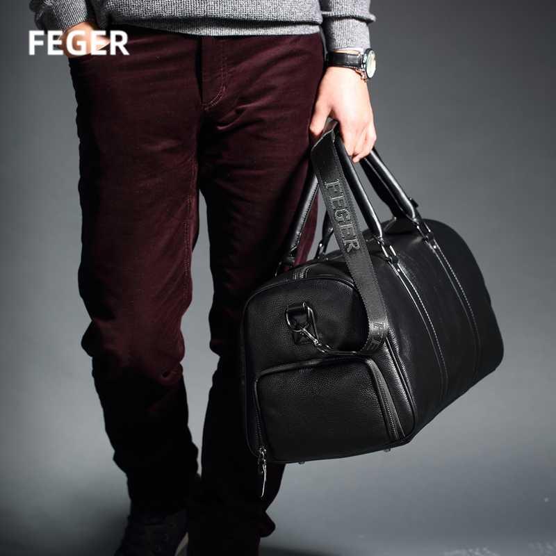 FEGER erkek hakiki deri seyahat çantası haftasonu silindir çanta büyük kapasiteli spor spor çantaları kadın marka iş bavulu